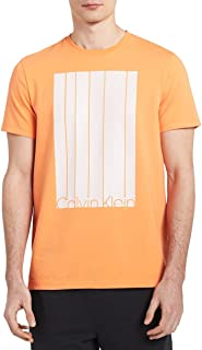 Men's Short Sleeve Mesh Stripe Logo Crew Neck T-Shirt