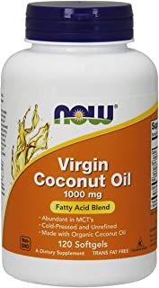 NOW Supplements, Virgin Coconut Oil 1000 mg, Cold Pressed and Unrefined, 120 Softgels