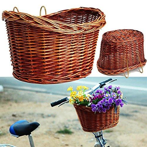Seasaleshop Fahrradkorb aus Weidengeflecht Picknickkorb Vintage Bike Vorne Einkaufskorb Fahrrad Pet Carrier by