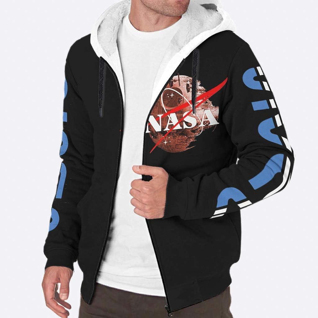 Sheeouis Mens Regular discount Long Sleeve Full NASA Fleece Sher spacePrinted Zip Max 56% OFF