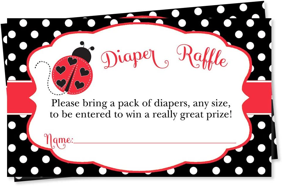 Ladybug Baby Shower Diaper Raffle Ticket Polka Dots Lil Lady Bug Baby Sprinkle Red Black Green Polka Dots Spring Diaper Wipes Raffle Ticket Insert Request Prize (25 Count)