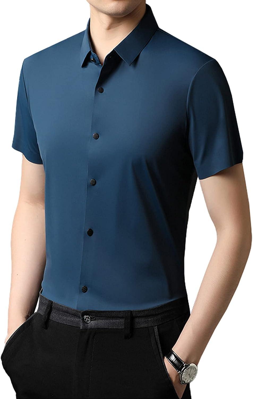 Summer Men's Short-Sleeved Solid Color Stretch Shirt Casual Cardigan Henry Shirt