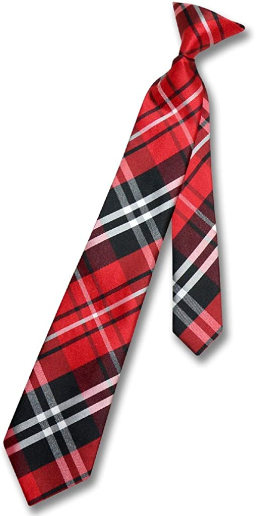 Vesuvio Napoli Boy's CLIP-ON NeckTie BLACK RED WHITE PLAID Youth Neck Tie