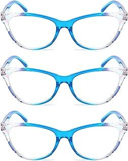 Inlefen men women 3 packs Cat eye reading glasses Full frame PC spring hinges new style fashion portable light comfortable Unisex reading glasses