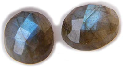Thebestjewellery Faceted Labradorite cabochon Pair, 11Ct Natural Gemstone, Oval Shape Cabochon Pair for Jewelry Making (11x9x4mm) SKU-8969