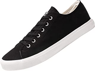Fear0 Unisex True to Size White or Black Tennis Casual Canvas Sneakers Shoes for Mens Womens