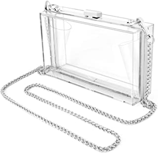 Women/'s Double Component Acrylic Box Clutch with Movable Beads Between