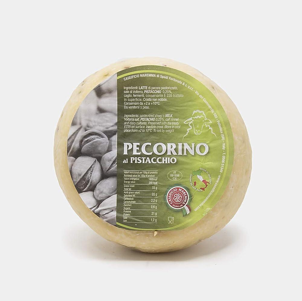 Pecorino al pistacchio di bronte, mezza forma sottovuoto da 1,2 kg,formaggio artigianale toscano