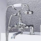 Set de ducha de bañera cromado con grifo, plato de ducha de fácil instalación en el lateral de la bañera, doble asas, teleducha de 2 funciones, grifo mezclador de latón grueso, frío y c