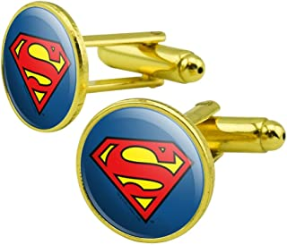 GRAPHICS & MORE Superman Classic S Shield Logo Round Cufflink Set Gold Color
