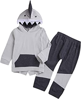YOUNGER TREE Kids Toddler Baby Boys Winter Outfit Shark Long Sleeve Pocket Hoodie Sweatshirt Jackets Shirt+Pants Clothes Set