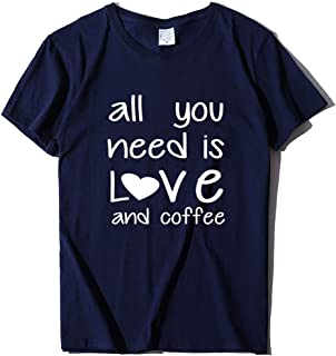 XUJIN All You Need is Love and Coffee 3D Printed Short-Sleeved Cotton T-Shirt