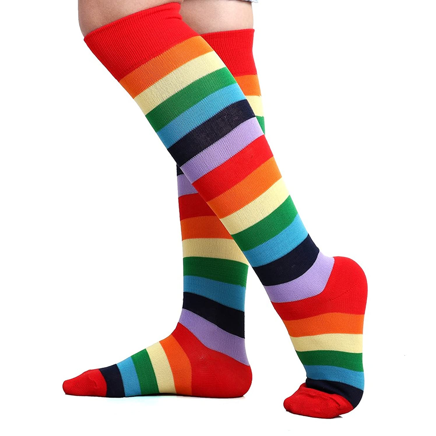 ELLITE Women Striped Stockings White Black Rainbow Athletic Soccer Tube Knee High Socks