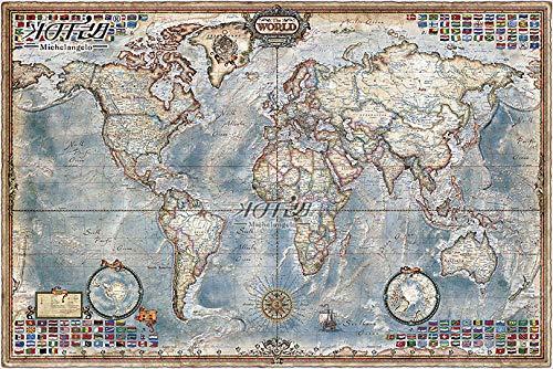 SULI Puzzle Rompecabezas de Madera Mapa administrativo Mundial Mapa Vintage 1000 Piezas