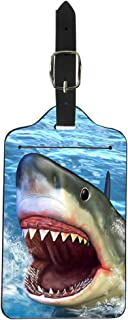 Upetstory Travel Luggage Label Straps Suitcase Name ID Address Tags for Men, Novelty Shark Head Animal Design
