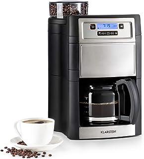 Klarstein Aromatica II máquina de café con molino - Máquina de café con filtro, 1000 W, Jarra de vidrio de 1,25 litros, Programable 24 horas, Filtro de carbón activo permanente, Plateado