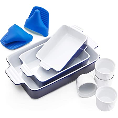13 x 9.8 inch Kitchen Ceramic Rectangular baking dish Lasagna Pans for Casserole Dish Navy Banquet and Daily Use Cake Dinner SWEEJAR Porcelain Bakeware Set for Cooking