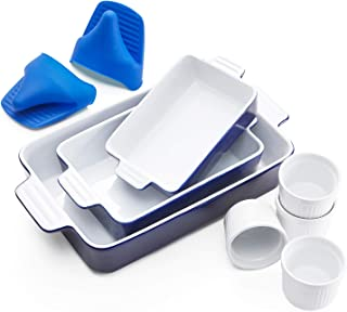 Vexilsy Baking Dish Set, Ceramic Bakeware Set Includes 3 Rectangular Nonstick Casserole Dish, 4 Ramekins, Silicone Double ...