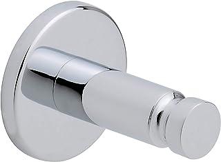Samoprzylepny haczyk tesa® Loxx wykonany z chromowanego na wysoki połysk metalu, o wymiarach 42 mm x 42 mm x 50 mm