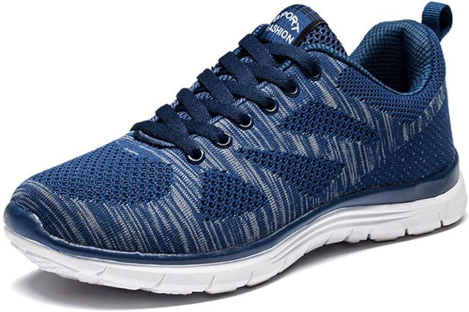Men's Knit Mesh Sneakers Spring Fall New Breathable Running Sports shoes Mens Lightweight Casual Walking Travel shoes (color   bluee, Size   43)