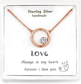 """Qings Undying Love Necklace Jewelry for Women""""You are Only Love in My Heart"""" 925 Sterling Silver Circle Stone Necklace Bir..."""