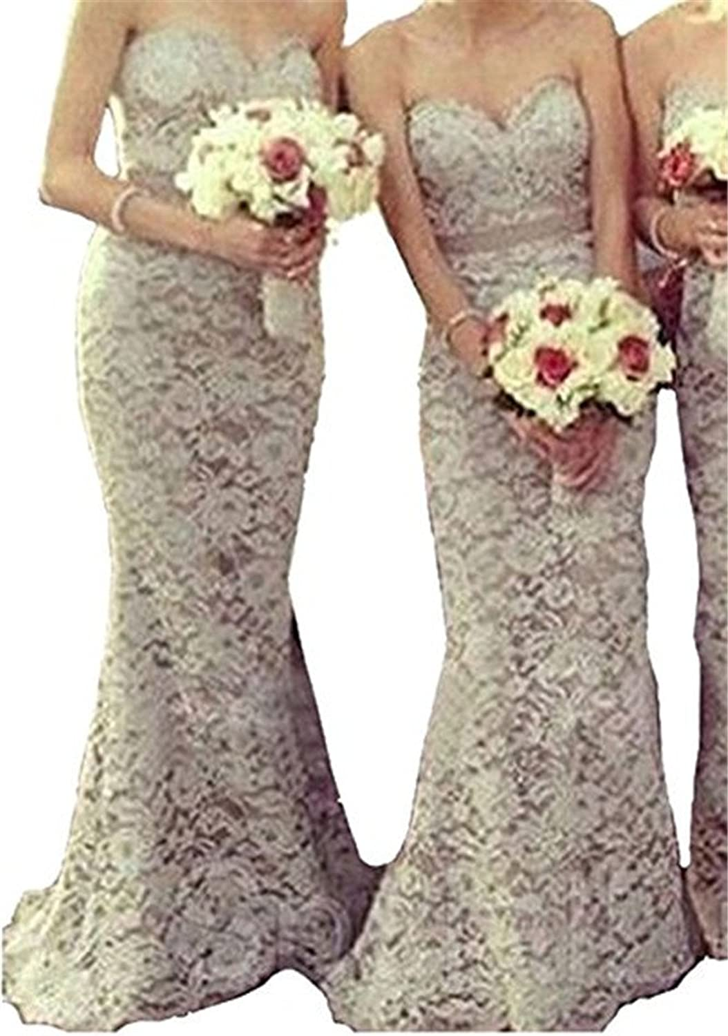 Chenghouse Lace Mermaid Bridesmaid Dresses Laceup Sweetheart Bridesmaid Gowns