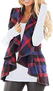 Women Lapel Open Front Plaid Vest Cardigan Coat with Pockets