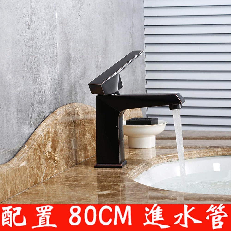 Becken Wasserhahn Schwarz Retro Einlochmontage Warm- und Kaltwasserhahn Einfache Kunst Wasserhahn Warm- und Kaltwasser Universal