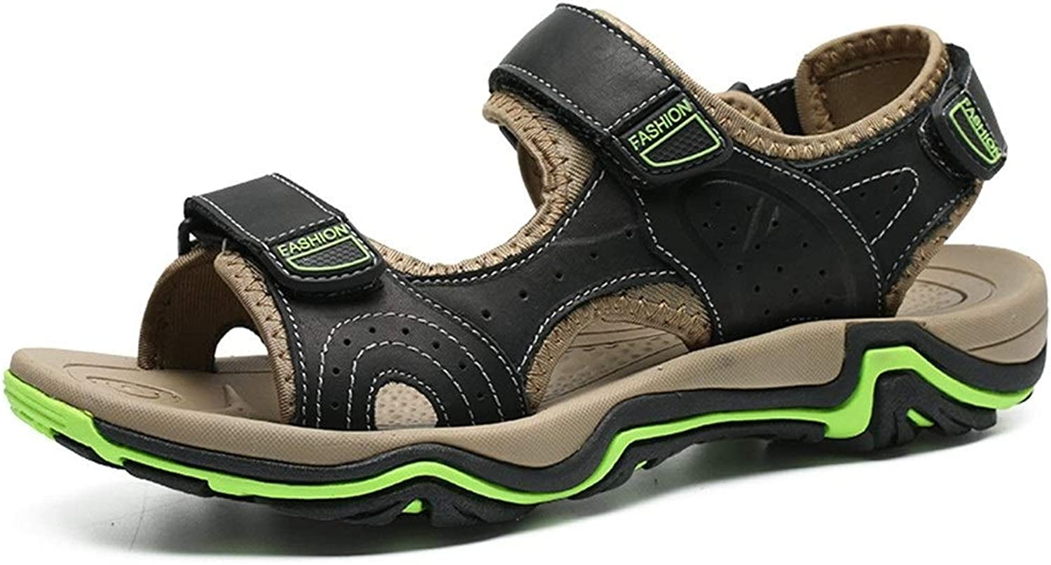 Easy Go Shopping Summer Beach Sandals Casual Water Hiking shoes Genuine Leather Antislip Outsole Hook&Loop Strap Cricket shoes (color   Black, Size   8 UK)