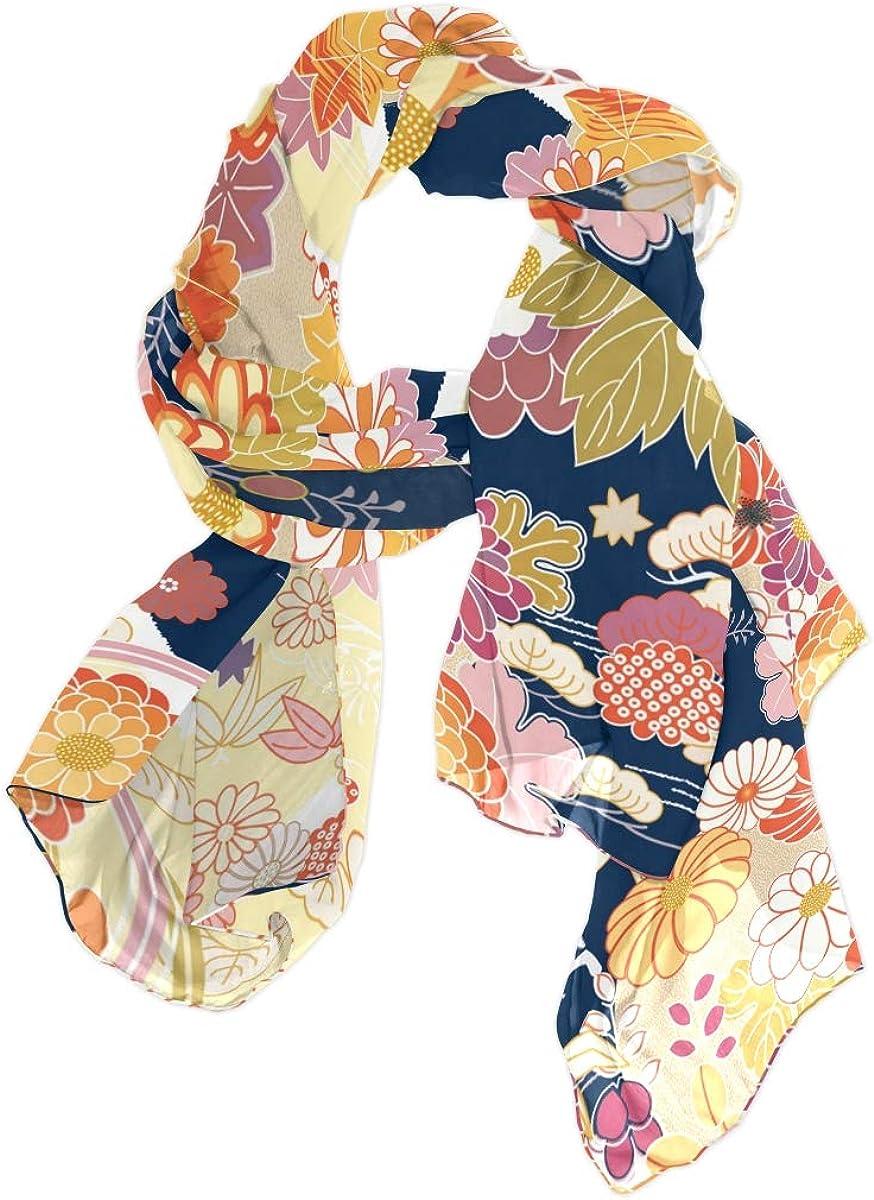 AUUXVA Fashion Scarf Japan Floral Flower Cherry Blossom Kimono Long Lightweight Sunscreen Scarf Shawl Wrap Muffler Neckerchief for Women Men