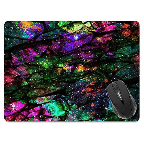 Extra Large (X-Large) Size Non-Slip Rectangle Mousepad, FINCIBO Purple Green Galaxy Marble Mouse Pad for Home, Office and Gaming Desk