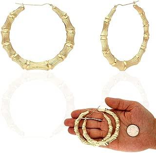 10K Yellow Gold Bamboo Style Lightweight Hoop Earrings 17-85mm