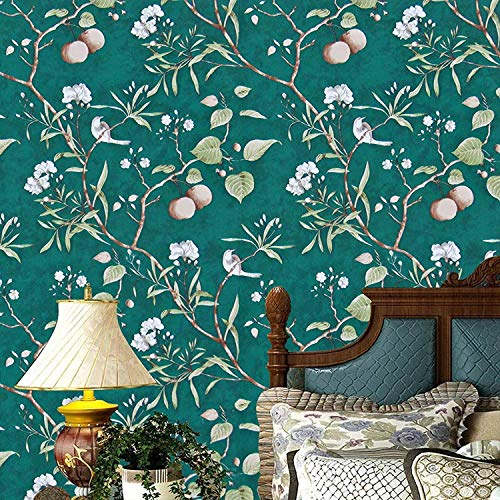 Green Floral Peel and Stick Wallpaper Modern Wallpaper, 17.7' x 196.8' Peach Tree Removable Wallpaper Peel and Stick Flower Bird Waterproof Natural Self Adhesive Wall Paper Vinyl Film Wall Covering