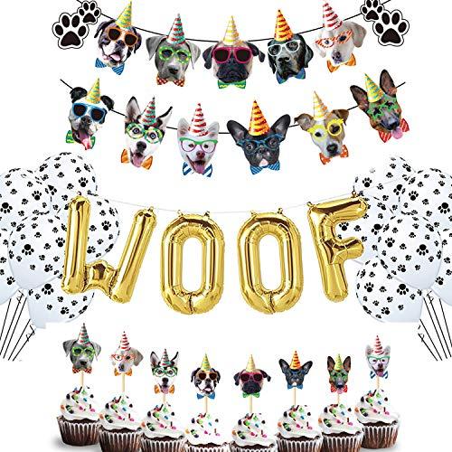 MIFIRE Hund Thema Party Dekoration Set Hund Gesicht Geburtstag WOOF Banner Girlande Hund Geburtstag Party Bunting Dekoration