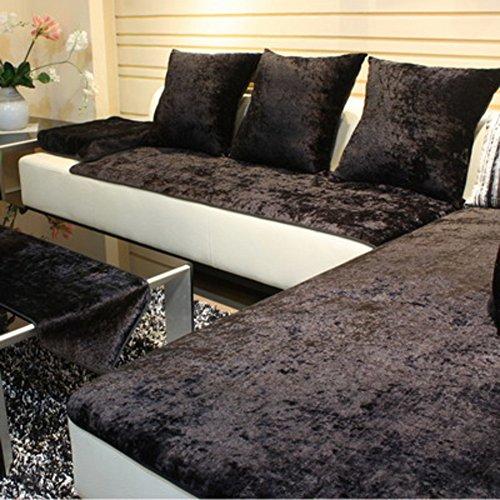 TY&WJ Plüsch Anti-rutsch Sofabezug Wohnzimmer Sofabezug Outdoor Couch-abdeckungen Möbel Protector Für ledersofa Haustier Hund & Kinder-schwarz 60x210cm(24x83inch)