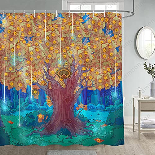 Gdmoon Tarot Tree Shower Curtain Psychedelic Forest Fairy Tale Jungle Tree of Life Magic Elf Hippie Divination Wizard Six-Pointed Stars Natural Bathroom Curtain Set with 12 Hooks 72x72In YLHHGD23