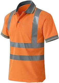 ELNOCSON Polo Shirt de Travail microporeux Haute-visibilité,T-Shirt de Protection de sécurité avec respirant léger