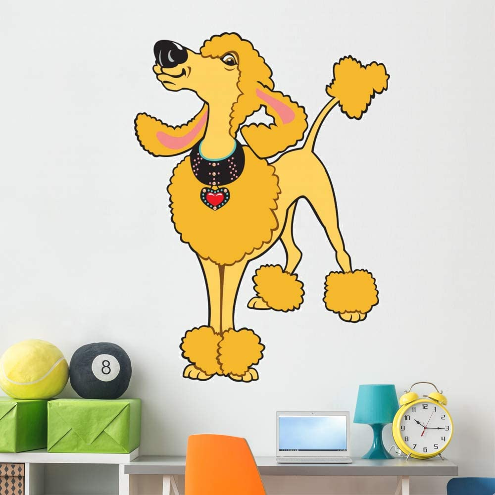 Wallmonkeys Cartoon Poodle 2021 new Wall Decal and Stick Peel Max 86% OFF Animal Grap