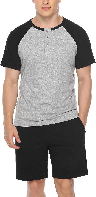 Sykooria Men's 100% Cotton Pajama Set 2 Pcs Summer Crewneck Short Sleeve Raglan Pjs Sleepwear