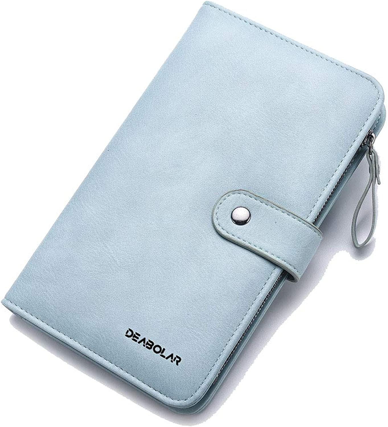 Women's Leather Wallet Long Wallet Passport Bag Multifunction Phone Case (color   Light bluee)