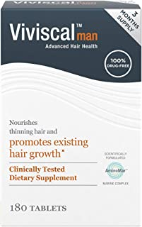 Viviscal Man Hair Growth Supplements DrugFree Alternative Treatment to Nourish Thinning Hair, 90 Day Supply, 180 Count