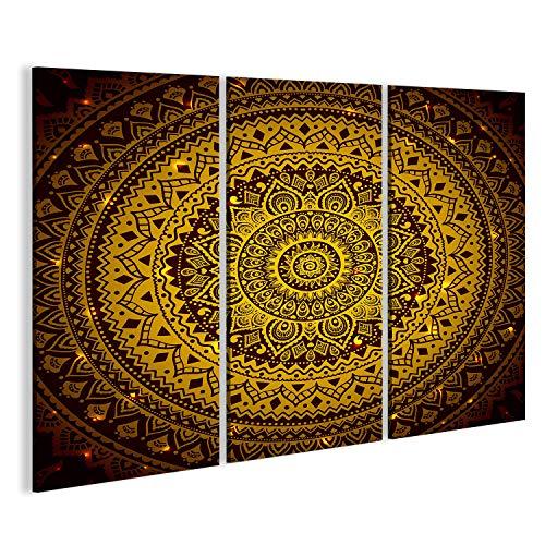 islandburner Cuadro Cuadros Impresión sobre Lienzo - Formato Grande - Cuadros Modernos Mandala Modelo Indio