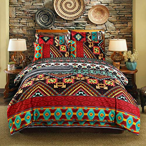 wide smile Mandala Boho Bohemian Bedding Duvet Cover Set King Size Duvet Quilt Cover Oriental Ethnic Exotic Style include 1 Duvet Cover 2 Pillow Cases