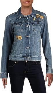 LAUREN RALPH LAUREN Womens Susan Spring Embroidered Denim Jacket Blue 4