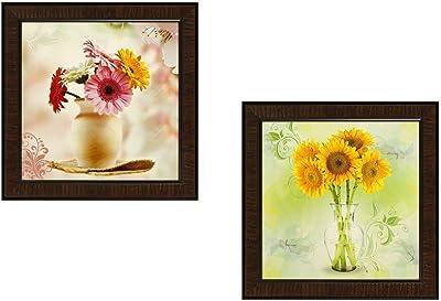 SAF SANFD174 Flower Textured UV Print Painting (35 cm x 2 cm x 35 cm, Multicolor) -Set of 2