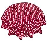 Home Direct Mantel de Hule, Redondo 140 cm Lunares Rojo
