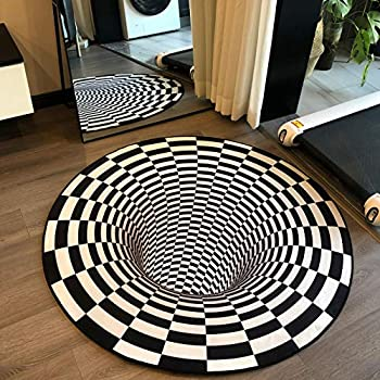 3D Vortex Optical Illusion Round Area Trap Trippy Flannel Rugs Ultra Durable Cool Rugs Black Hole Stereo Vision Zebra Black and White Rugs Non-Slip 3D Visual Area Rugs for Room Decor  Diameter 60cm