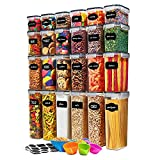 24 Pack Airtight Food Storage Container Set - BPA Free Clear Plastic Kitchen and Pantry Organization Canisters with Durable Lids for Cereal, Dry Food Flour & Sugar - Labels, Marker & Spoon Set