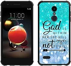 LG K30 Case, LG Phoenix Plus Case, LG K10 2018 Case, LG Premier Pro Teal Blue Sparkle Glitter Case, ABLOOMBOX Slim Bumper Rubber Protective Case with Reinforced Corners