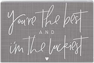 "Simply Said, INC Small Talk Rectangles, You're The Best & I'm The Luckiest- 3.5""x5.25"" Rustic Distressed Wood Sign STR1547"